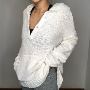 Lou & Grey White Knit Pullover Hooded Sweater